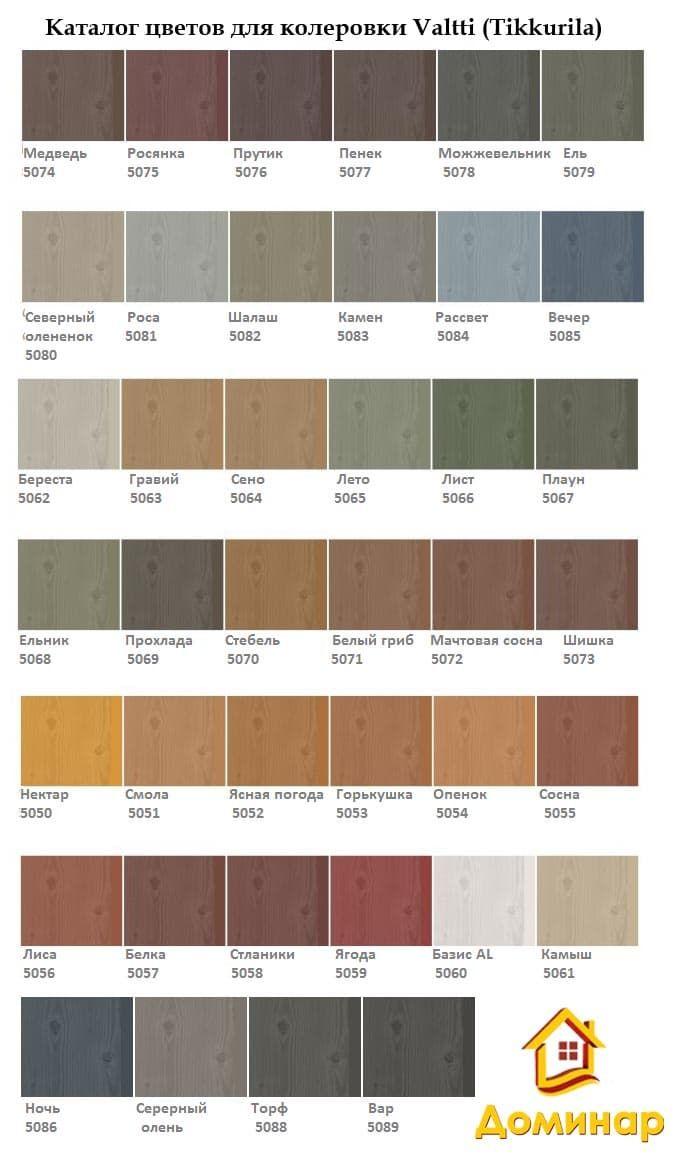 Цветовая гамма Valtti для колеровки цвета